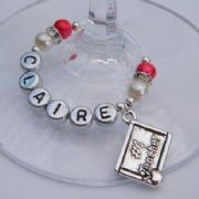 Number 1 Teacher Personalised Wine Glass Charm - Elegance Style
